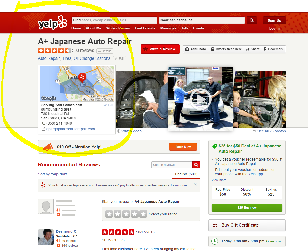 With over 500 Yelp Reviews - A+ Japanese Auto Repair in San Carlos