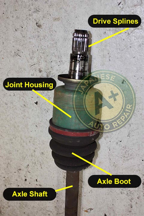 Image shows C/V axle drive splines, joint housing, axle boot, and axle shaft - A+ Japanese Auto Repair Inc.