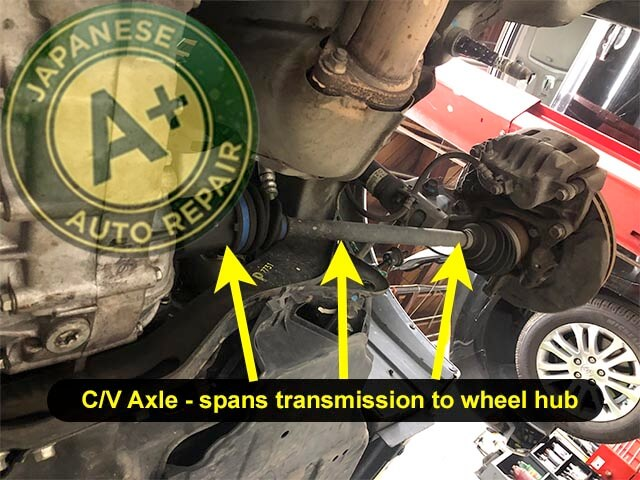 Image showing C/V axle spanning from transmission to wheel hub - A+ Japanese Auto Repair Inc.